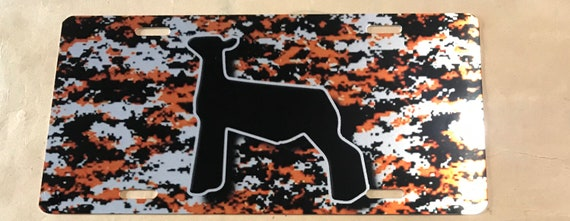 Digital camo orange background with choice of livestock car tag