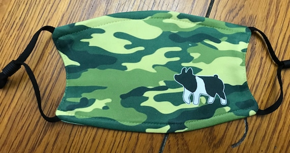 Large green camo livestock show mask