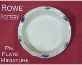 Rowe Pottery 1992 Pie Plate - Salt Glazed Blue Stoneware Pottery Rare Miniature - Flower Crock, Bird, Pitcher, Gallon, Mini FREE SHIPPING