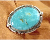 Battle Mountain Turquoise Blue Gem Sterling Silver Navajo Ring - RARE Eula Wylie Bold Ring - Native American Indian Arizona - FREE SHIPPING