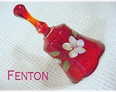 Fenton Ruby Red Amberina Hand Painted Flowers Art Glass Bell - Collectible, Candle Holder, Vase, Basket, Fairy Lamp, Plate FREE SHIPPING