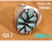 Kingman Turquoise Sterling Silver Petit Point Ring - Size 7 - Native American Zuni Indian - New Old Stock NOS - Gift Box - FREE SHIPPING