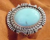 Sleeping Beauty Turquoise Sterling Silver Large Ring - Signed ES - Navajo Indian Native American Jewelry Arizona Estate Blue - FREE SHIPPING