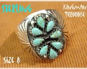 Kingman Turquoise Sterling Silver Needlepoint Ring - Size 8 - Native American Zuni Indian - New Old Stock NOS - Gift Box - FREE SHIPPING