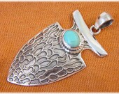 Arrowhead Kingman Turquoise Sterling Silver 2 quot Pendant - Artisan Limited Edition of Only 7 - Navajo Native American Indian FREE SHIPPING