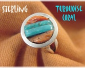 Zuni Corn Row Sleeping Beauty Turquoise Coral Sterling Silver Ring - Size 5 - 1940s Old Pawn Native American Indian Arizona - FREE SHIPPING