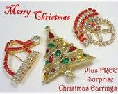 Christmas Rhinestone Tree Brooch Pin Earrings Lot Set - Santa Claus Santas Hat - Costume Jewelry 3 FREE Surprise Gifts FREE SHIPPING