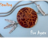 Fire Agate Sterling Silver Pendant Necklace - Feathers Popcorn Chain Artisan - Crystal New Age Orange - Perfect Gift FREE SHIPPING