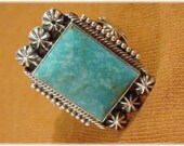 Blue Ridge Turquoise Michael Calladitto Sterling Silver Ring - M R - Size 9 1 2 - Native American, Navajo, Arizona, Indian FREE SHIPPING