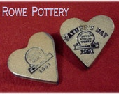 Rowe Pottery RARE Pottery Heart Pin Set Brooch - Fathers Day 1991 1991 Heart - Crock Salt Glazed - Factory Tour Pin FREE SHIPPING