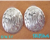 Concho Western 1 quot Earrings Engraved Swirl Sterling Silver - Spiral Design - Oval Navajo Native American Indian Southwestern FREE SHIPPING