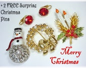 Christmas Rhinestone Enamel Brooch Pin Earrings Lot Set - Snowman Candle Wreath - Costume Jewelry 3 FREE Surprise Gifts FREE SHIPPING