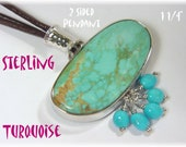 Turquoise Sterling Silver Leather Necklace - Double Sided Pendant Artisan - Native American Jewelry Sleeping Beauty Royston - FREE SHIPPING