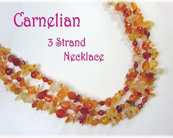 Carnelian Nugget Sterling Silver 3 Strand Necklace Artisan OOAK Orange Red Bead Agate Layering Handmade Autumn Jewelry FREE SHIPPING