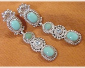 Sleeping Beauty Turquoise Sterling Silver Blue Topaz Dangle 2 quot Earrings - Navajo Native American Indian Blue - Arizona Estate FREE SHIPPING