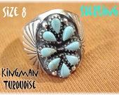 Kingman Turquoise Sterling Silver Zuni Petit Point Ring - Size 8 - Native American Indian Blue Needlepoint - New Old Stock NOS FREE SHIPPING