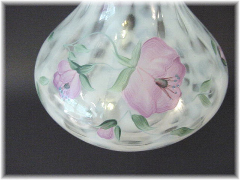 Flowers Fenton Dusty Rose Diamond Optic Vase Hand Painted Art Glass Pink Crest Trellis French Opalescent Wedding Gift FREE SHIPPING