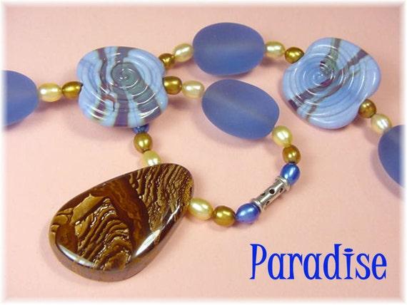 Lampwork Art Glass Rutilated Quartz Pearl Bead Beaded Blue Beach Glass Sea Glass Sterling Silver Necklace Artisan OOAK FREE SHIPPING