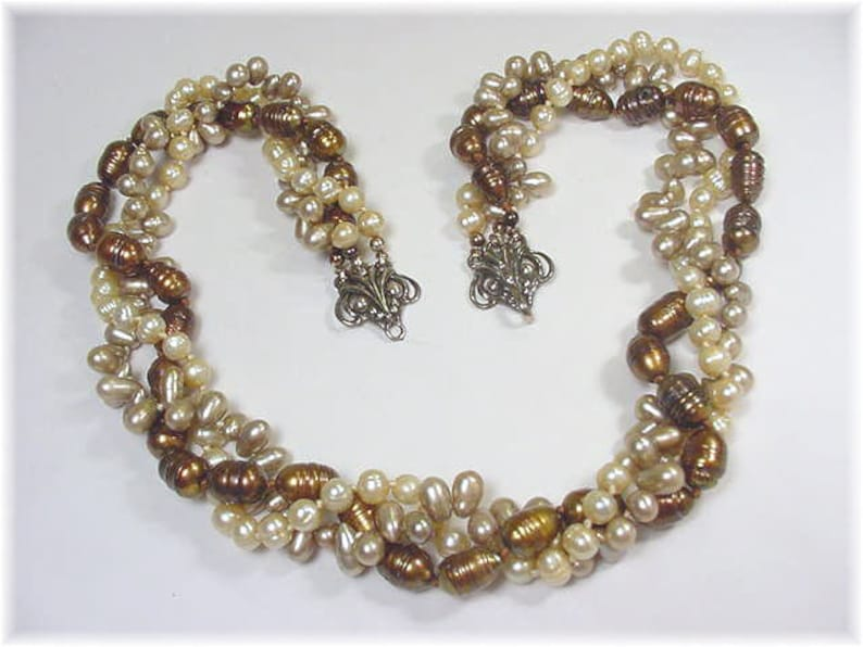Chocolate Brown Baroque 3 Strand Twisted Pearl Sterling Silver Necklace FREE SHIPPING Artisan Iridescent 6 to 10 mm Torsade Pearls Bead