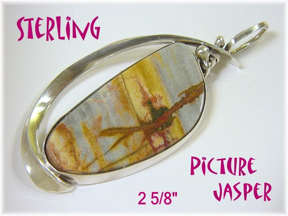 Blue Mountain Picture Jasper Sterling Silver 2 5/8