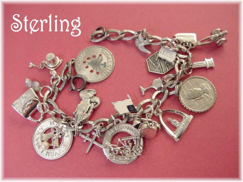 ccd19fa360f4a1 Sterling Silver Charm Bracelet Vintage Bermuda Mechanical | Etsy