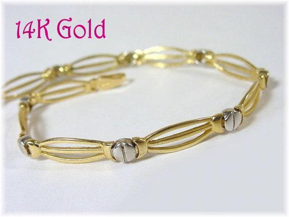FREE SHIPPING 14K Gold Screw Link Art Deco Bracelet White /& Yellow 14K Gold Gift Box Christmas Valentines Day Gift