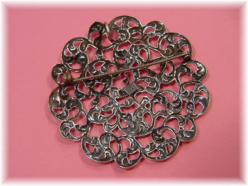 Victorian Vintage Estate Celtic Ireland FREE SHIPPING Victorian Floral Filigree Flowers Large Michele Sterling Silver Brooch Pendant