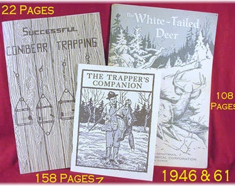 Trappers Companion, Successful Conibear Trapping Trap & White Tailed Deer Guide Books Booklet  Fox Hunting Guns Hunter License FREE SHIPPING