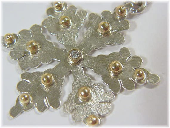 Artisan Custom Design Only 1 Created FREE SHIPPING Modern Art Snow Christmas Snowflake 14K Gold Sterling Silver Pendant 1 78