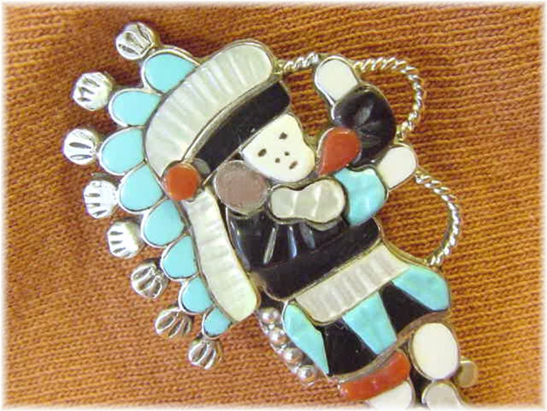 FREE SHIPPING Lavonne Lalio Native American Arizona Zuni Indian Dancer Sterling Silver Kachina Brooch Pendant Inlay Turquoise Coral