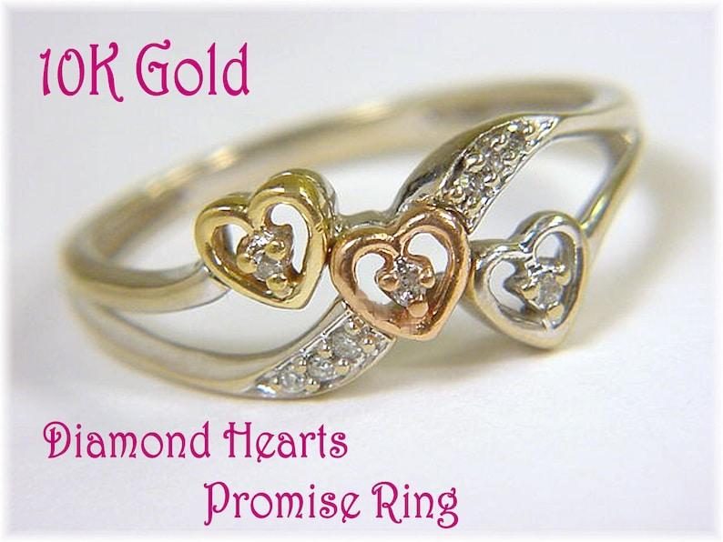 Daughter Ring Stack Triple Heart Diamond 10K Gold Sweetheart Promise Ring FREE SHIPPING White Yellow Rose Gold Promise Ring 14K