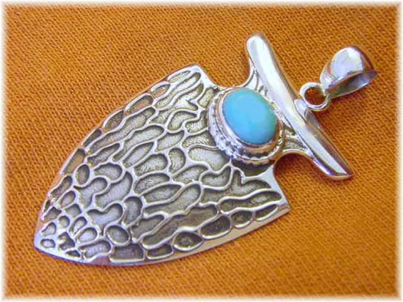 Sleeping Beauty Turquoise Arrowhead Sterling Silver 2 Pendant FREE SHIPPING Navajo Native American Indian Limited Edition of Only 7
