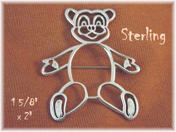 Details about  /Artisan Heirloom by Vintage Creations Marcasite Sterling Teddy Bear Pin NWT
