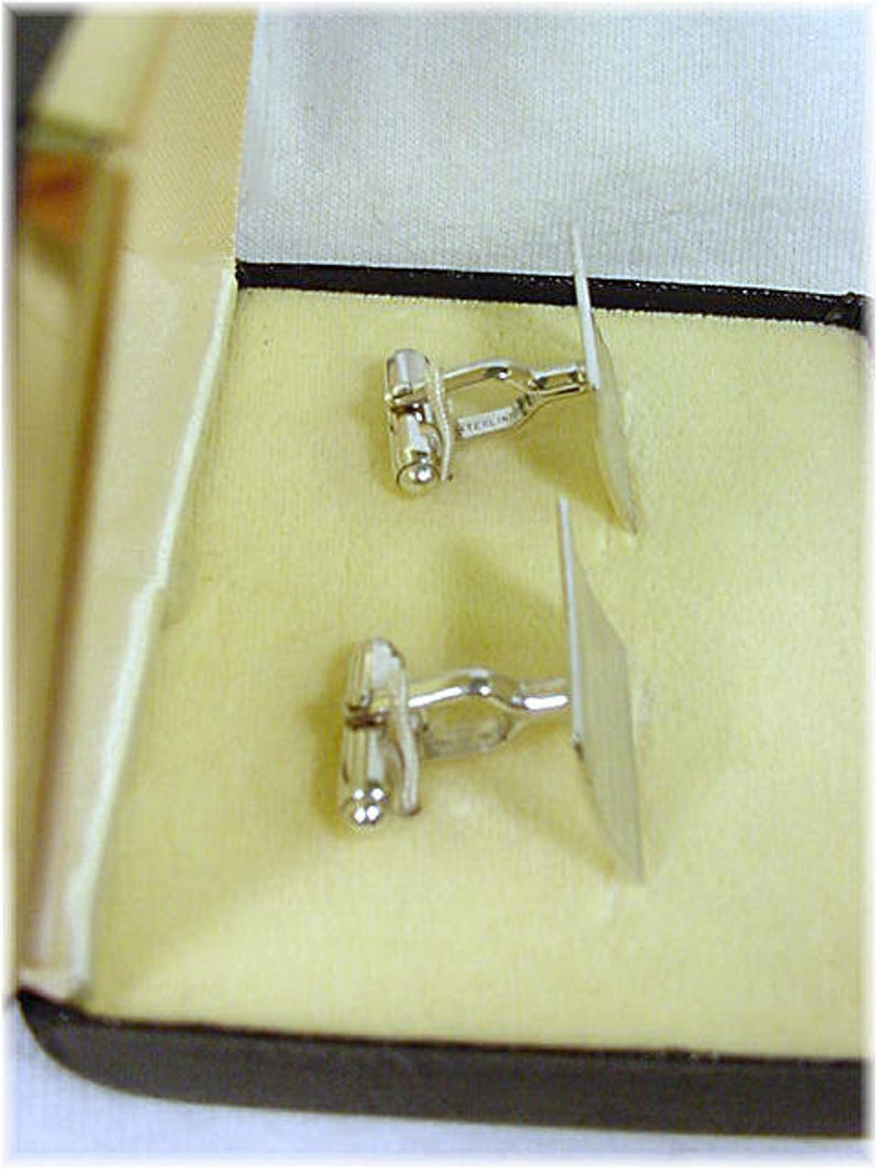 Wedding Suit Cuff Links Mens Fathers Day Anson Mid Century Modern Lines Cufflinks Original Gift Box Sterling Silver FREE SHIPPING