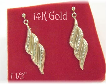"""14K Gold - Triple Wave Diamond Cut  1 5/8"""" Dangle Earrings - Sparkling Grabs The Light - Gift Box - Perfect Gift - Christmas - FREE SHIPPING"""