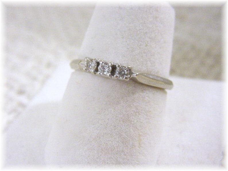 14K White Gold Sparkling 3 Diamond Ring Wedding Jewelry Estate Antique Gift Box Pinky Size 6 FREE SHIPPING Bride Anniversary