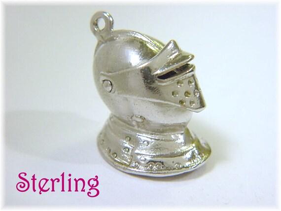 Medieval Knight Armor Helmet Sterling Silver Charm