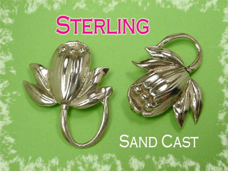 FREE SHIPPING Rare Arizona Sandcast Native American Indian Estate Sterling Silver Navajo Sand Cast Cactus Flower Brooch Pin Set of 2