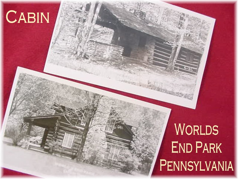 Worlds End State Park Postcard Lot - Log Cabin Forksville Pa RPPC Postcard  - Stone Cottage Pennsylvania Caulkins Real Photo - FREE SHIPPING