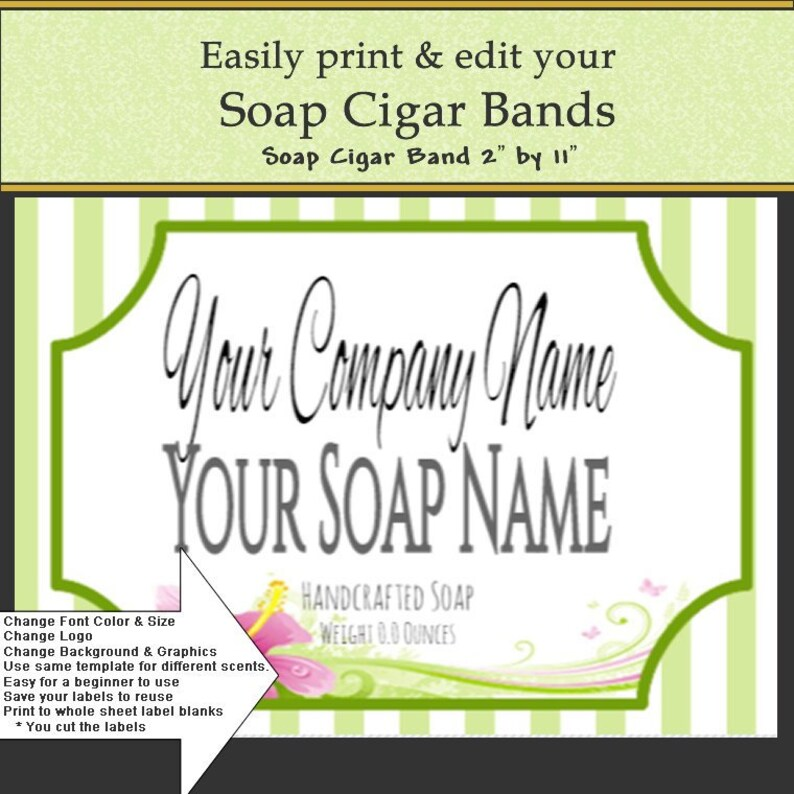 Soap Label, Soap Cigar Band, DIY Soap Label, DIY Print Label, Label  Template, DIY Edit Label, Do it Yourself, Print your soap label easily