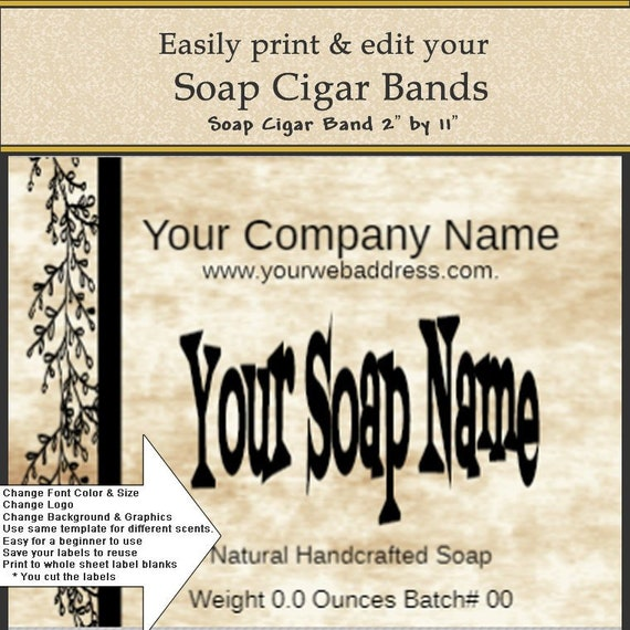 soap label soap cigar band diy soap label diy print label etsy