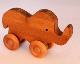 """Wooden Toy """"Bamboo Baby Elephant"""" - Child Safe, Handcrafted from Reclaimed Bamboo, Eco-friendly by GiggleTree Toys"""