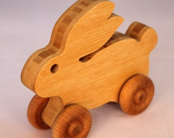 """Wooden Toy """"Bamboo Bunny"""" Child Safe, Handcrafted from Reclaimed Bamboo, Eco-friendly by GiggleTree Toys"""
