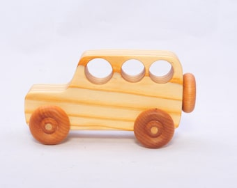 Wooden Vintage Style Jeep - Child Safe, Handcrafted from Reclaimed Pine, Eco-friendly by GiggleTree Toys