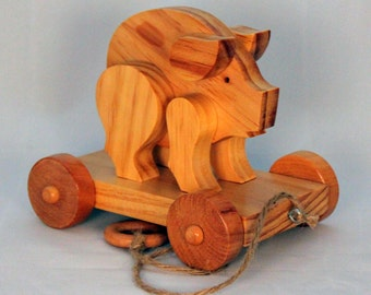 Wooden  Pull Toy Piggy -  Child Safe, Handcrafted from Reclaimed Wood, Eco Friendly by GiggleTree Toys