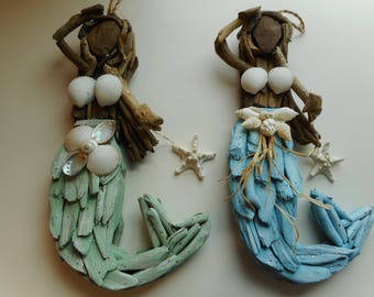 SeaShell Driftwood Wall Mermaid , Nautical Home Decor. Mermaid With Shells  Mermaid Art Driftwood Art