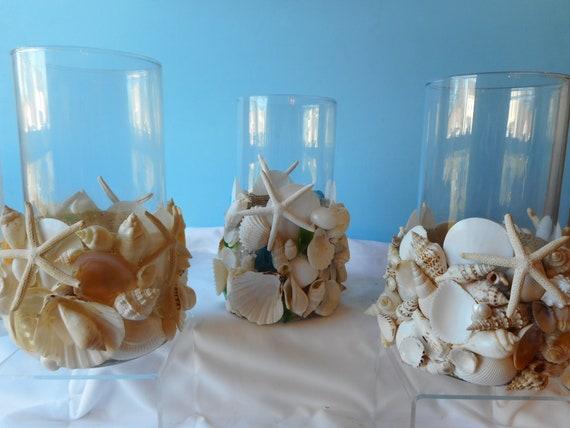 Sea Shell Sea Glass Candle Holder Sea Shell Vase Shell Etsy