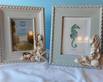 Sea Shell Picture Frame-Beach Frame-Nautical Shell Photo Frame-Distressed Shell Frame-Shabby Chic Frame