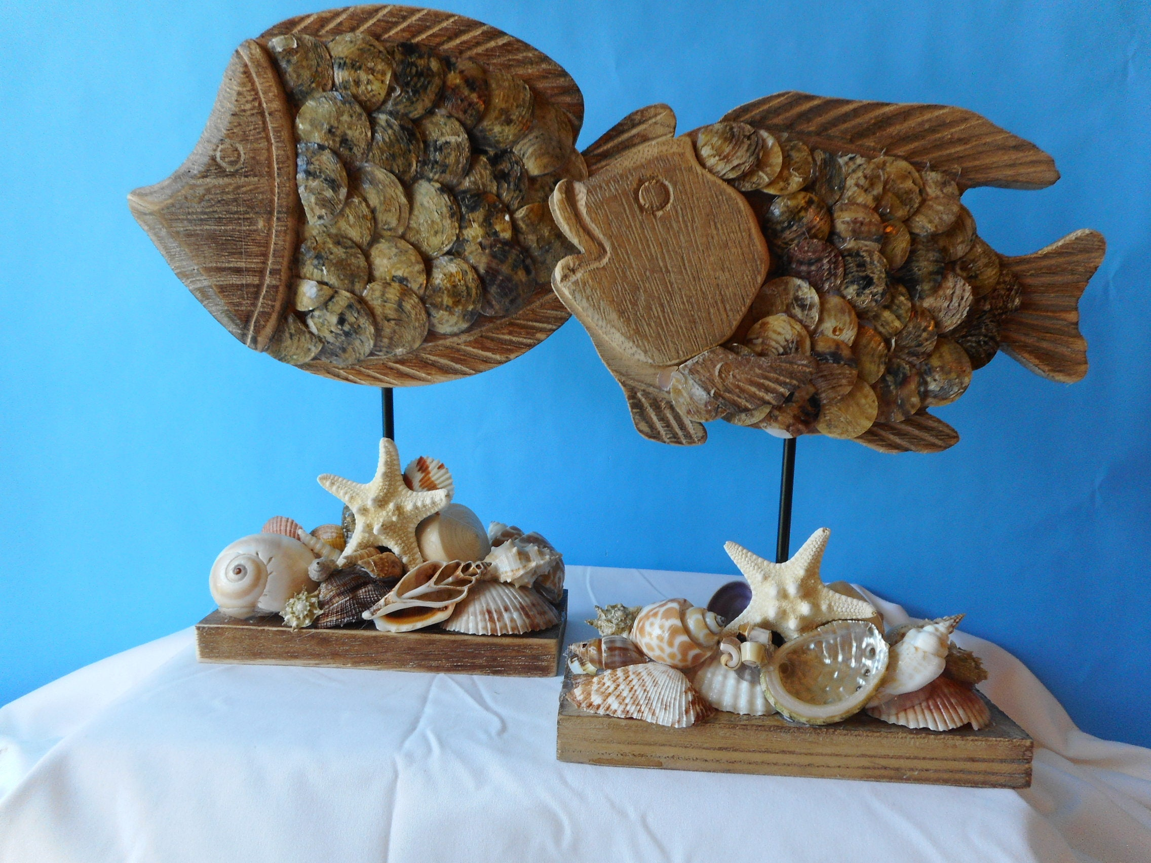 Sea Shell Wood Fish-Coastal Home Decor-Beach Decor-Sea