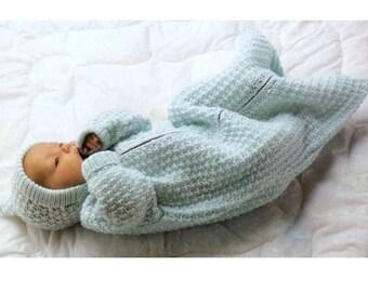 f4218b0a0 Knitting Pattern Baby Sleeping Bag Cocoon Sleep Sack Papoose
